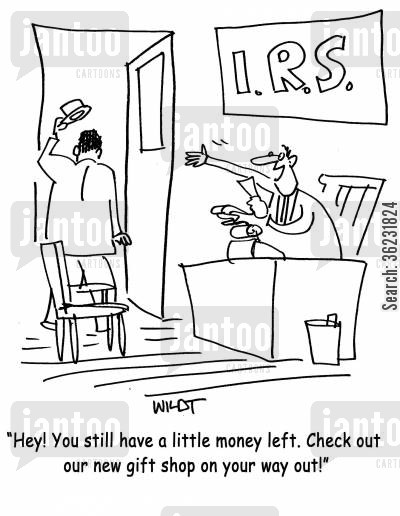 gift stores cartoon humor: Hey! You still have a little money left. Check out our new gift shop on your way out!