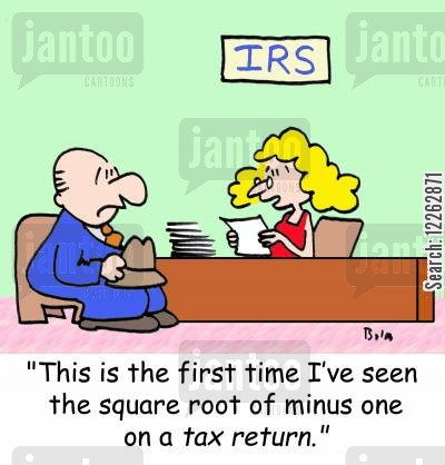 taxes cartoon humor: IRS, 'This is the first time I've seen the square root of minus one on a tax return.'