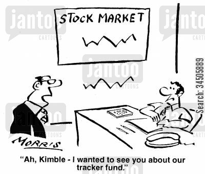 tracker fund managers cartoon humor: Ah, Kimble - I wanted to see you about our tracker fund.