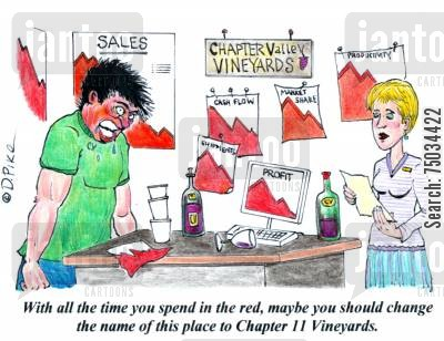 bankrupted cartoon humor: 'With all the time you spend in the red, maybe you should change the name of this place to Chapter 11 Vineyards.'
