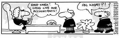balance the books cartoon humor: 'Good work! Long live our accountants!'
