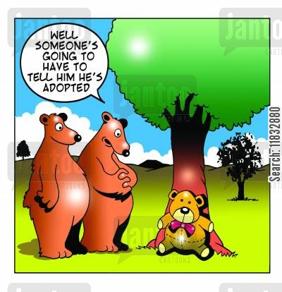 family secrets cartoon humor: Someone's going to have to tell him he's adopted...