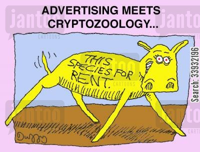 this space for rent cartoon humor: Advertising meets cryptozoology...