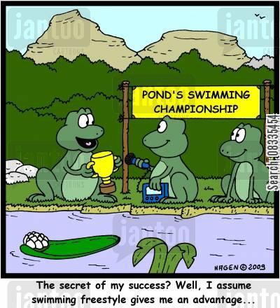 swimming race cartoon humor: 'The secret of my success? Well, I assume swimming freestyle gives me an advantage...'