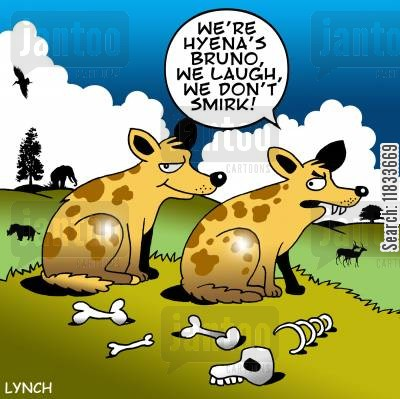 smirk cartoon humor: Smirking hyena.