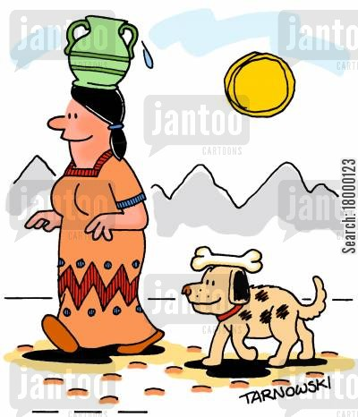 jug cartoon humor: Dog carrying a bone on his head.