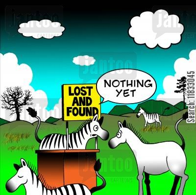 african plains cartoon humor: Zebra lost and found.