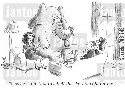 domestic conflict cartoon humor: 'Charlie is the first to admit that he's too old for me.'