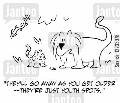 age spot cartoon humor: 'They'll go away as you get older -- they're just youth spots.'