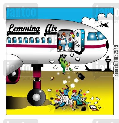 air safety cartoon humor: Lemming Air.