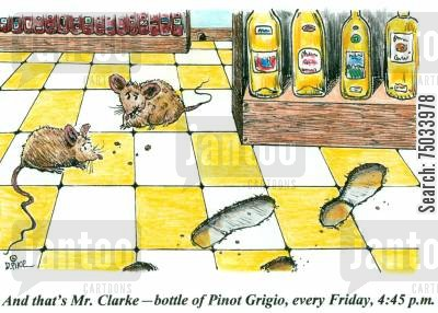 programmed cartoon humor: 'And that's Mr. Clarke - bottle of Pinot Grigio, every Friday, 4:45 p.m.'