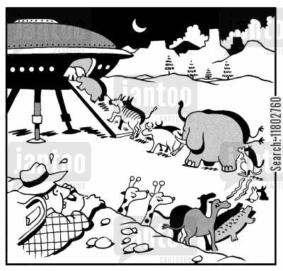 ark cartoon humor: Animals going two by two into a spaceship.