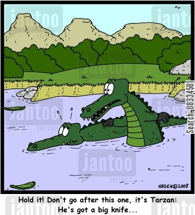 aligators cartoon humor: 'Hold it! Don't go after this one, it's Tarzan: He's got a big knife...'