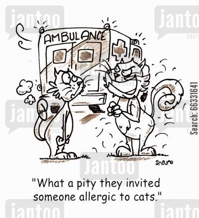 paramedics cartoon humor: What a pity they invited someone allergic to cats.