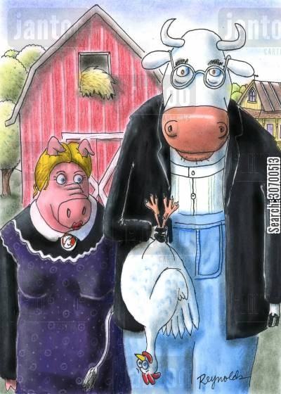 famous painting cartoon humor: American Gothic.