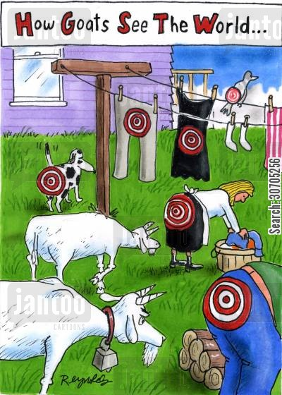 living targets cartoon humor: How Goats See the World.