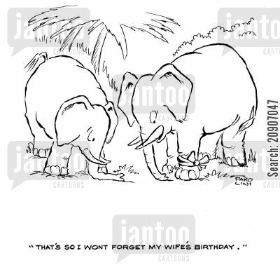 birthday celebrations cartoon humor: 'That's so I wont forget my wife's birthday.'
