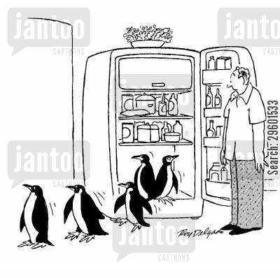 temperature cartoon humor: Penguins emerging from a fridge.