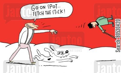 handicapped cartoon humor: 'Go on Spot... Fetch the stick!'