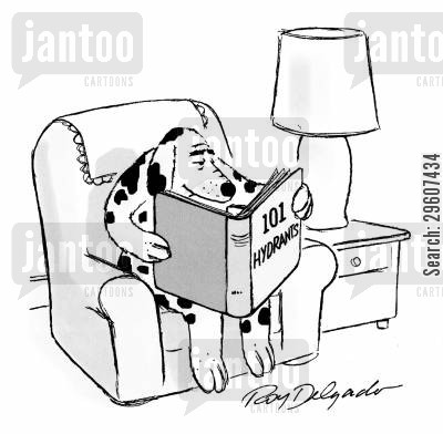hydrants cartoon humor: Dog reading '101 Hydrants'
