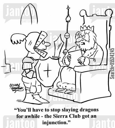 peta cartoon humor: King to knight: 'You'll have to stop slaying dragons for awhile - the Sierra Club got an injunction.'
