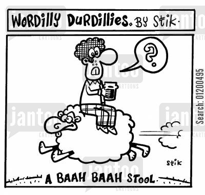 bar stool cartoon humor: Wordilly Durdillies - A Baah Baah stool