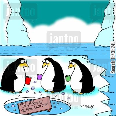 glaciers cartoon humor: Penguins at the Watering Hole.
