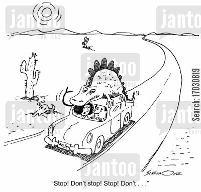 driving backseat driver cartoon humor: 'Stop! Don't stop! Stop! Don't . . . '