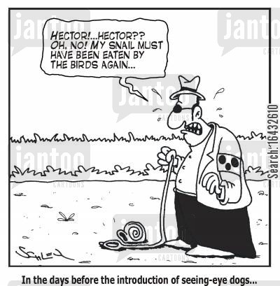 blindman cartoon humor: In the days before the introduction of seeing-eye dogs...