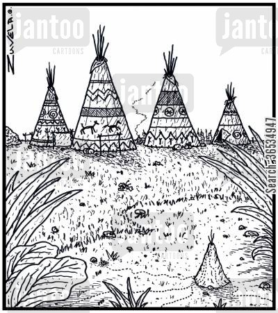elder cartoon humor: An Ant's nest in the form of a Tepee