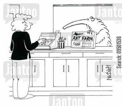 ant farms cartoon humor: Anteater buying ant-farm.