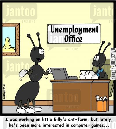 ant farms cartoon humor: 'I was working on little Billy's ant-farm, but lately, he's been more interested in computer games...'