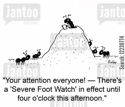 anthill cartoon humor: 'Your attention everyone! — There's a 'Severe Foot Watch' in effect until four o'clock this afternoon.'