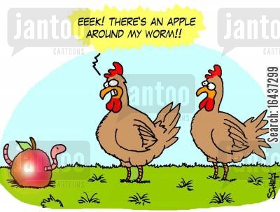 bird foods cartoon humor: 'EEEK! There's an apple around my worm!'