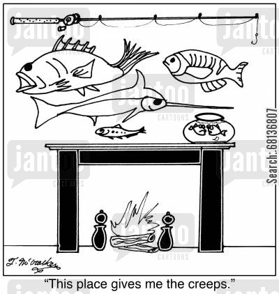 fishing trophies cartoon humor:  'This place gives me the creeps.'