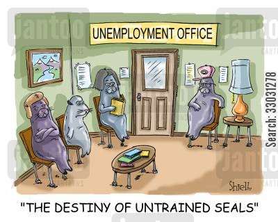 performing seal cartoon humor: The destiny of untrained seals.