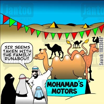 selling cars cartoon humor: Mohammad's motors