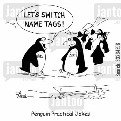 identical cartoon humor: Penguin Practical Jokes.