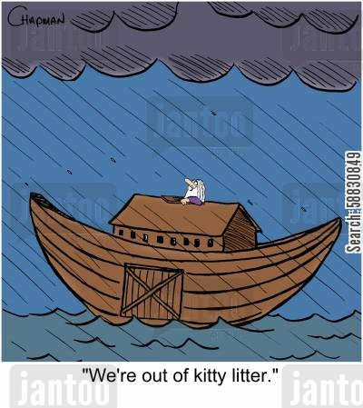 litter boxes cartoon humor: 'We're out of kitty litter.'