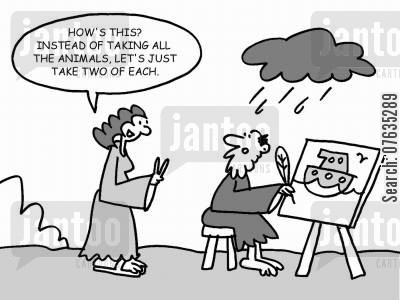 mrs noah cartoon humor: How's this? Instead of taking all the animals, let's just take two of each.