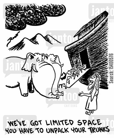 ark cartoon humor: We've got limited space - you have to unpack your trunks.