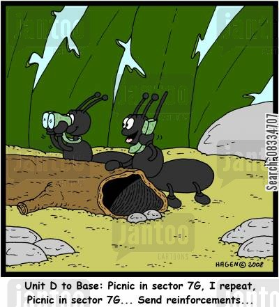 communication cartoon humor: 'Unit D to Base: Picnic in sector 7G, I repeat, Picnic in sector 7G... Send reinforcements...'