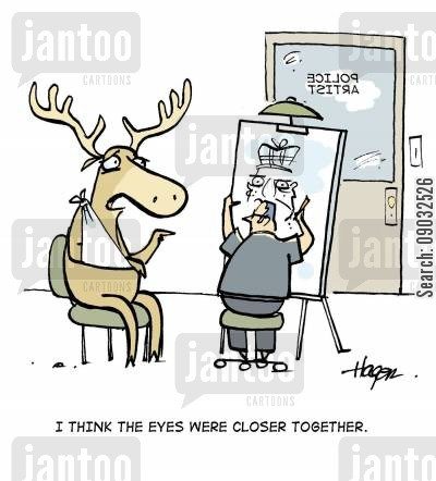 police sketch cartoon humor: 'I think the eyes were closer together.'