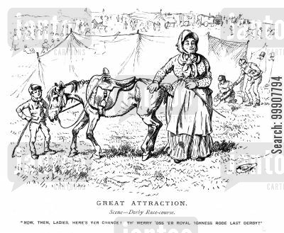 mules cartoon humor: Great Attraction - Derby Racecourse.