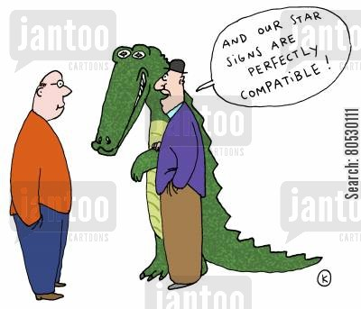 star signs cartoon humor: 'And our star signs are perfectly compatible!'