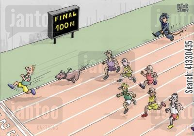 security guards cartoon humor: Athlete being chased by a dog.