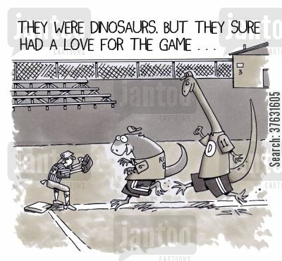 baseball matches cartoon humor: They were dinosaurs, but sure had a love for the game.