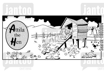 henhouse cartoon humor: Attila the hen.