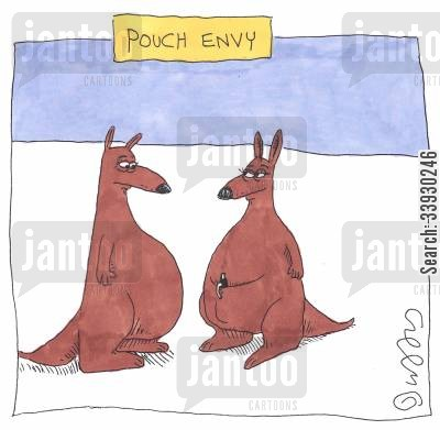 marsupial cartoon humor: Pouch Envy.