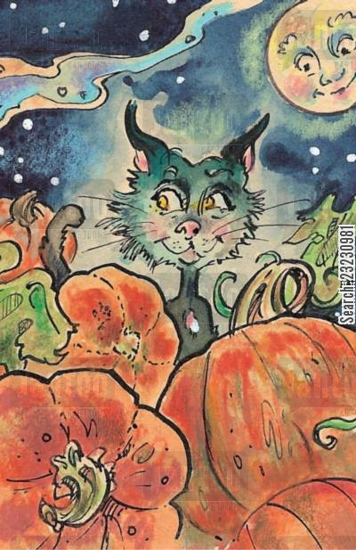 full moon cartoon humor: Cat among the pumpkins.